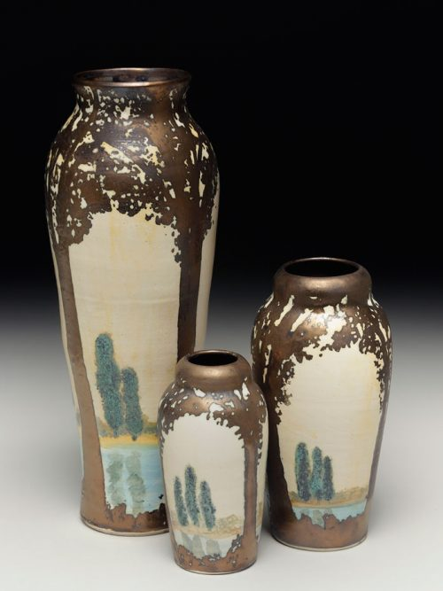 Ceramic vases featuring a scenic scene by Hog Hill Pottery.
