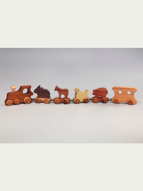 Wooden animal train handcrafted by East Laurel Woodcrafts.