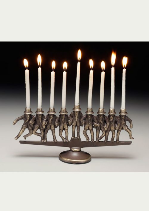 Dancing rabbis bronze menorah by Scott Nelles.