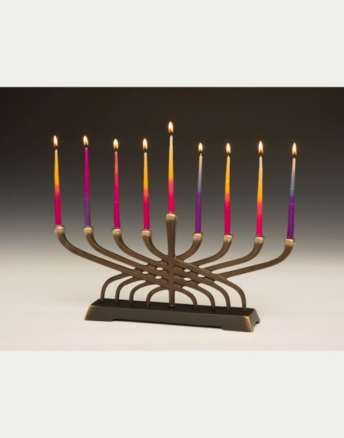 Contemporary bronze menorah handcrafted by Scott Nelles.