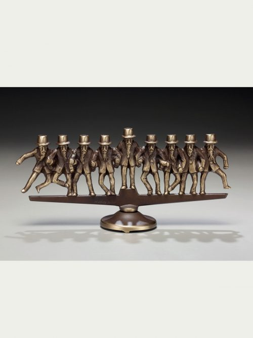 Dancing rabbis bronze menorah by Scott Nelles.