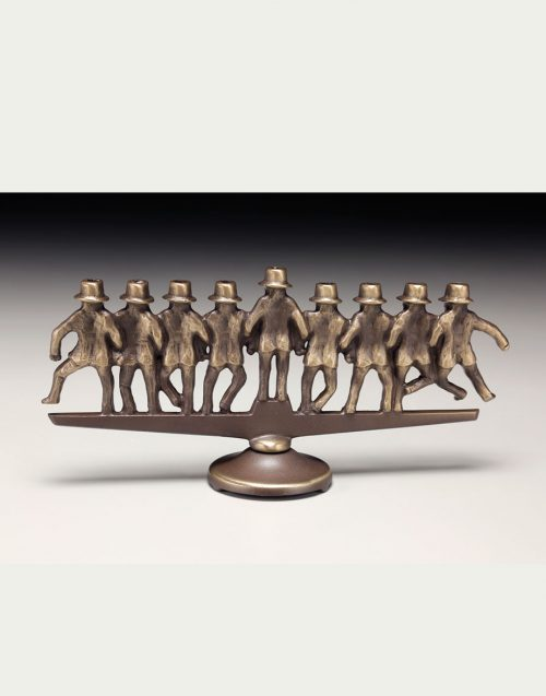 Bronze rabbi menorah by Scott Nelles.