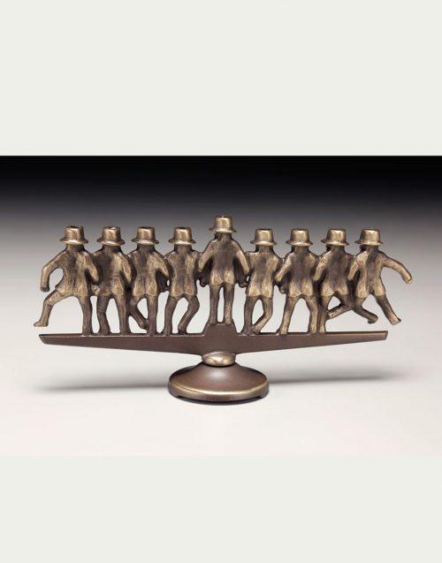 Bronze rabbi menorah by Scott Nelles.