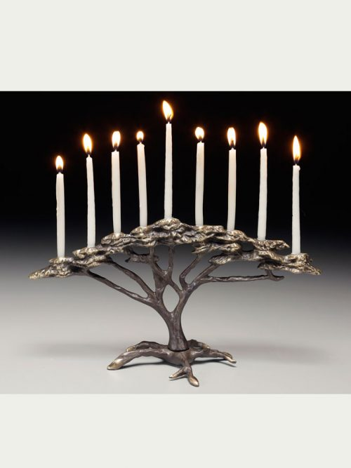 Bronze tree of life menorah by Scott Nelles.