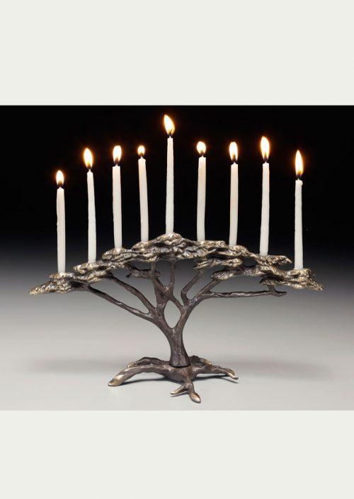 Bronze tree of life menorah by Scott Nelles.