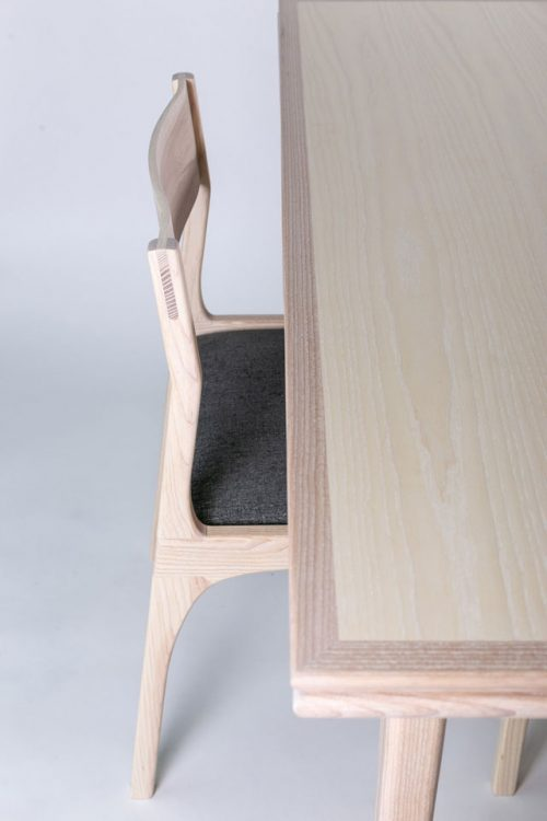 Detail of a dining chair handcrafted by Asheville furniture maker Andrew Stack.