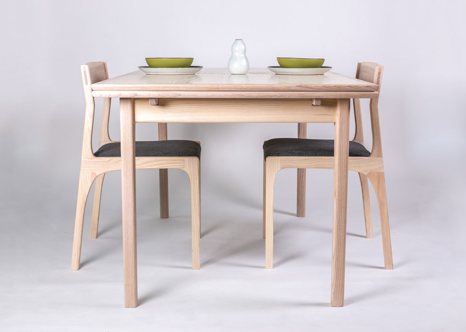 Fine furniture table and chairs by Asheville woodworker Andrew Stack.