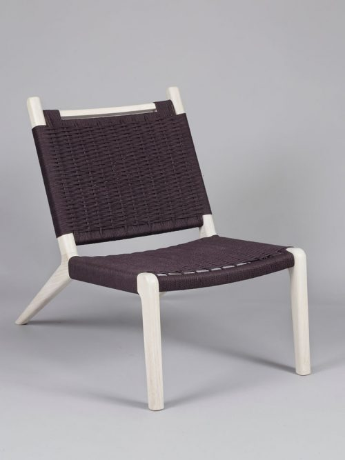 Hand-dyed Danish cord lounge chair by Asheville furniture maker Andrew Stack.