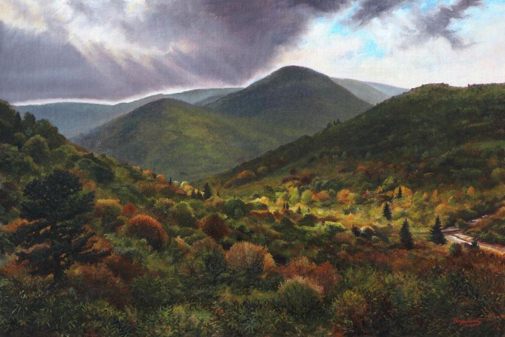Oil painting by Bryan Koontz titled Looking Toward Black Balsam.