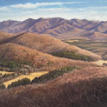 Landscape oil painting by Asheville artist Bryan Koontz titled Swannanoa Valley from Tanbark Ridge.