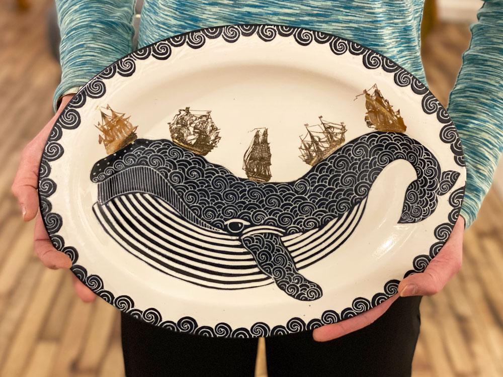 Whale platter by Asheville artist Anja Bartels.