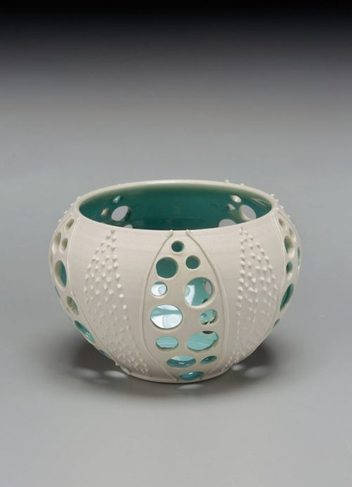 Porcelain sea urchin votive by Anja Bartels.