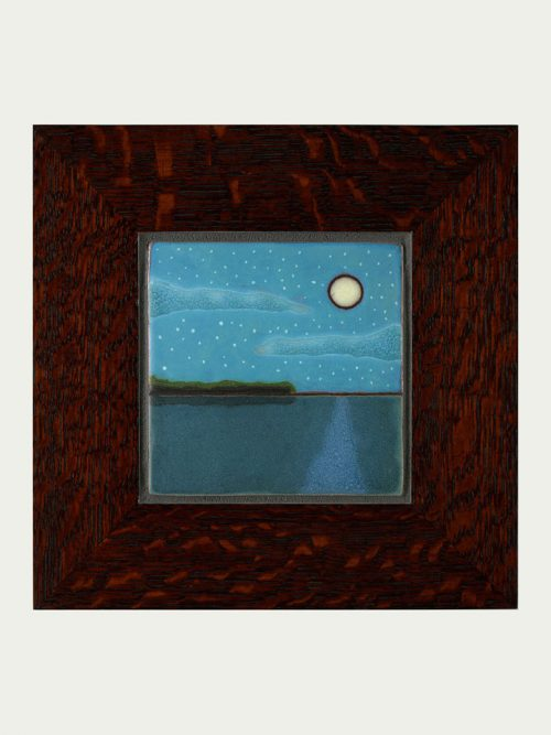 Framed ceramic art tile by Maine artist Jonathan White.