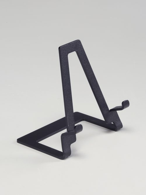 Steel display easel designed by Motawi Tileworks.