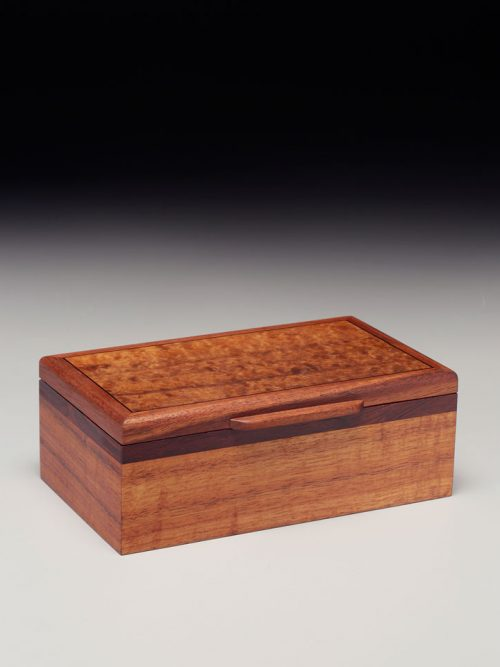 Handcrafted koa and rosewood keepsake box by Richard and Joanne Demeules.