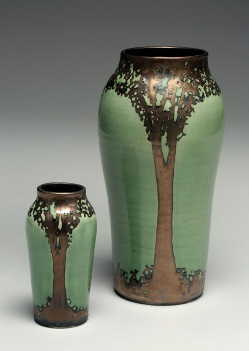 Arts and Crafts style ceramic vases by Hog hill Pottery.
