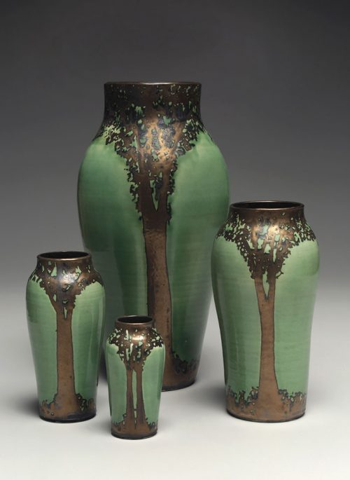 Ceramic vases part of Hog Hill Pottery's Luster Collection.