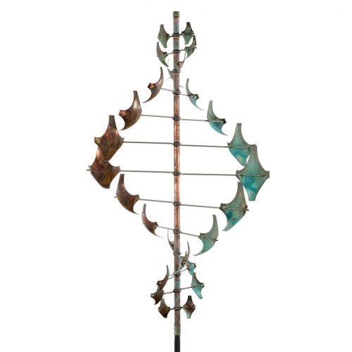 Detail of a Star Dancer Vertical wind sculpture by Lyman Whitaker.