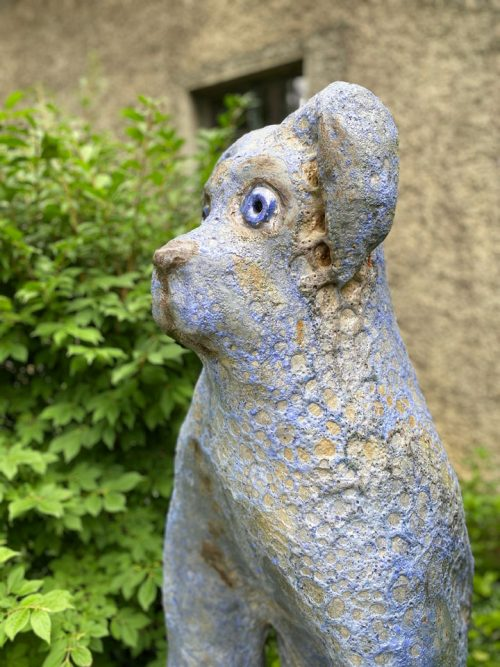 Big blue dog sculpture by artist Mark Chatterley.