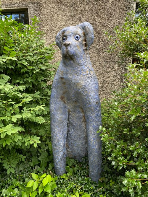Large big blue dog sculpture by artist Mark Chatterley.