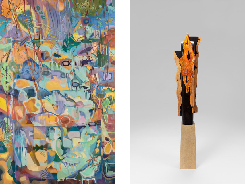 """In Wonder"" (oil painting) and ""Emerging"" (sculpture) by artist Dale McEntire."