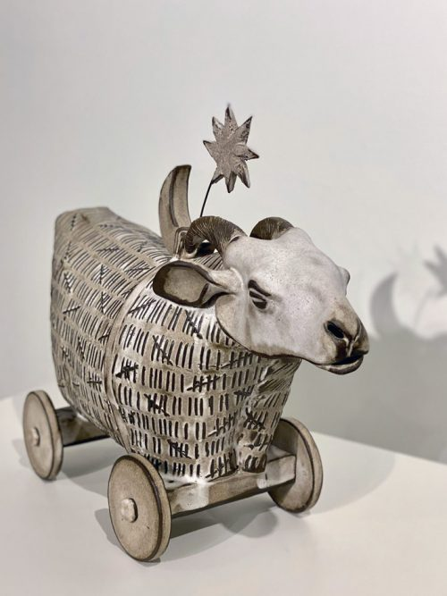 Ceramic sheep sculpture by North Carolina artist Libba Tracy.