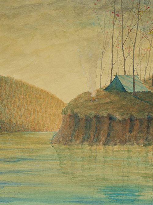 Watercolor painting of a camp site by North Carolina artist Michael Francis Reagan.