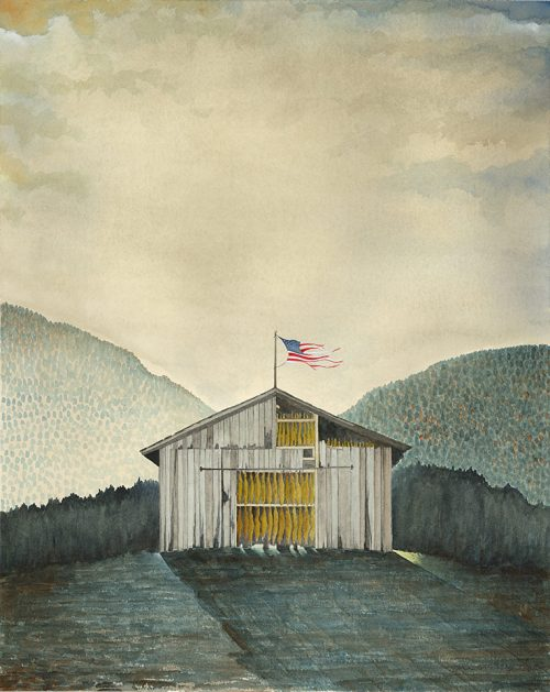 Watercolor painting by Michael Francis Reagan titled Old Glory.
