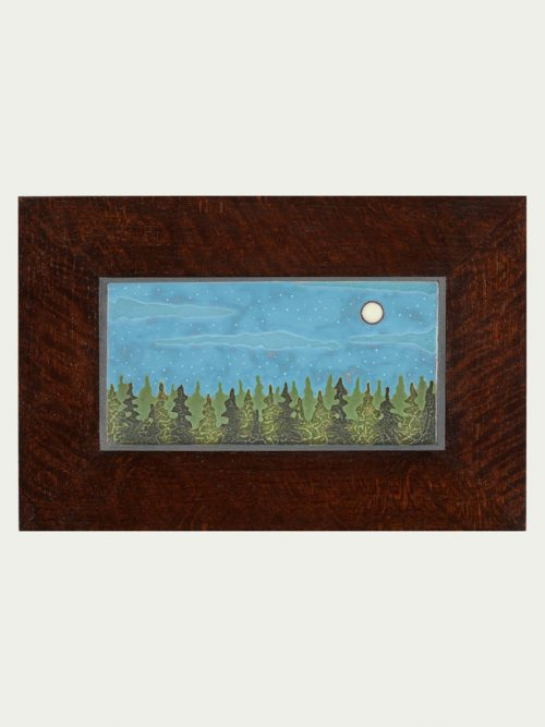 Art tile wall hanging of the moon over spruce trees by artist Jonathan White.