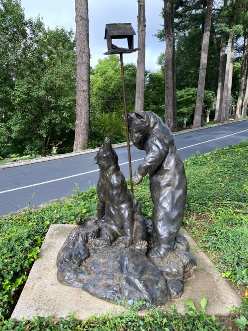 Bronze sculpture of two black bears by North Carolina artist Roger Martin.