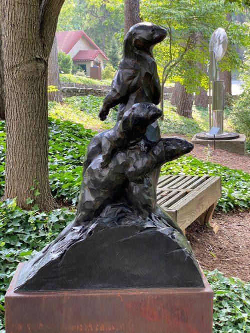 Bronze otter sculpture by Roger Martin.