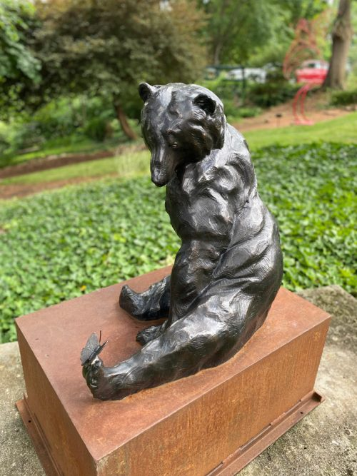 Bronze sculpture of a black bear by North Carolina artist Roger Martin.