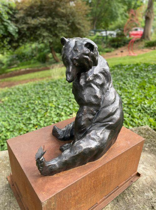 Bronze sculpture of a black bear by North Carolina artist Roger Martin.
