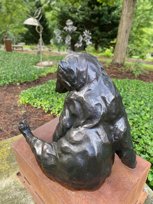 Bronze black bear sculpture by North Carolina artist Roger Martin.