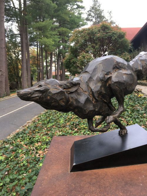 Born To Run bronze fox sculpture by Roger Martin.