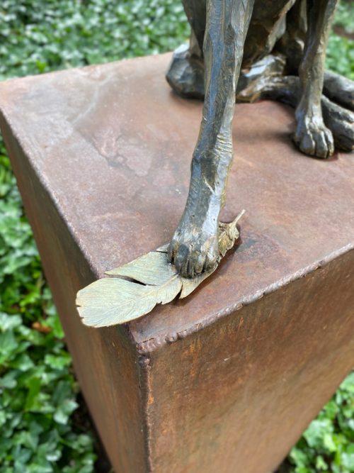 Limited edition bronze fox sculpture by North Carolina artist Roger Martin.
