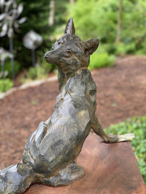 Limited edition bronze fox sculpture by North Carolina artist Roger Martin.