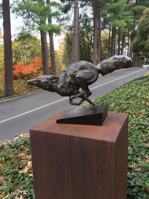 Bronze fox sculpture by North Carolina artist Roger Martin.