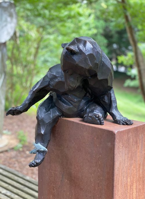 Limited edition bronze black bear sculpture by Roger Martin.
