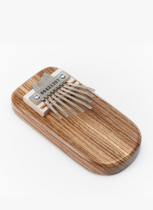 Zebrawood thumb piano by Paul and Sue Bergstrom of Mountain Melodies.
