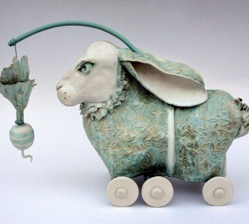 Ceramic sculpture by North Carolina artist Libba Tracy.