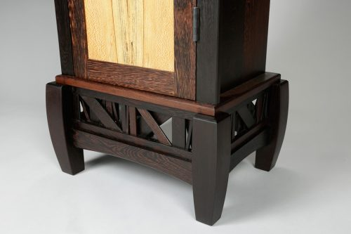 Detail of a handcrafted cabinet by North Carolina furniture maker Neil Carroll.