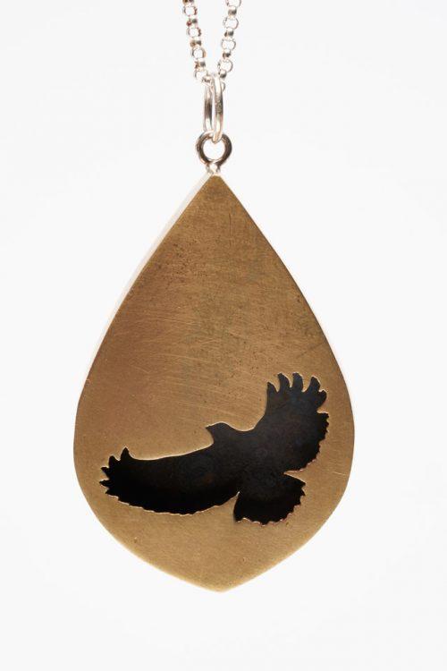 Bronze shadow box pendant by North Carolina metalsmith Audrey Laine.