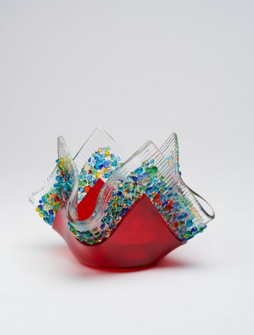 Kiln formed cherry glass votive by Jerry and Kathy Galloy.