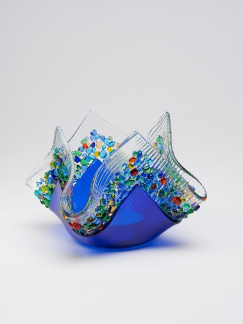 Kiln formed cobalt blue glass votive by artists Jerry and Kathy Galloy.