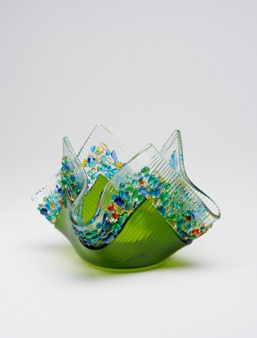Moss green glass votive by South Carolina artists Jerry and Kathy Galloy.