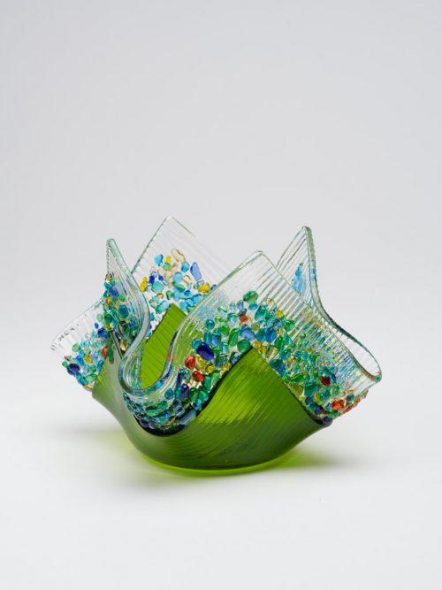 Moss green glass votive by South Carolina artists Jerry and Kathy Galloy.