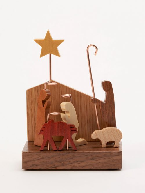 Mini wooden nativity scene handcrafted by Jerry Krider.