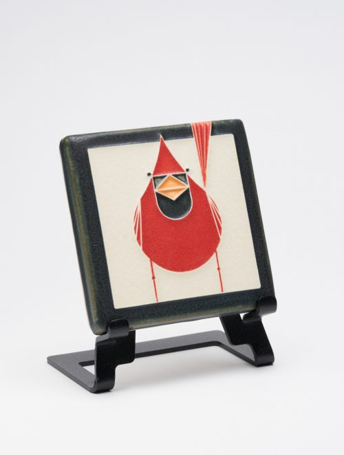 Male cardinal ceramic art tile handcrafted by Motawi Tileworks.