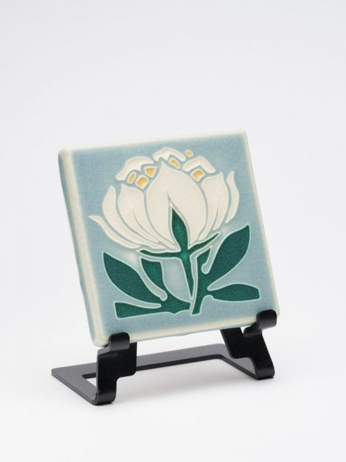Peony bloom art tile handcrafted by Motawi Tileworks in Ann Arbor, Michigan.